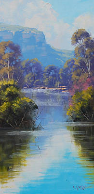 Mountain River Wall Art - Painting - River Reflections Megalong Creek by Graham Gercken
