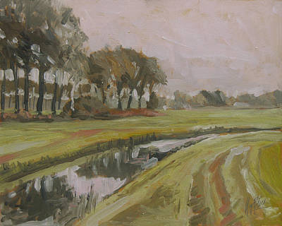 Nederland Painting - River Reusel Near Baarschot by Nop Briex