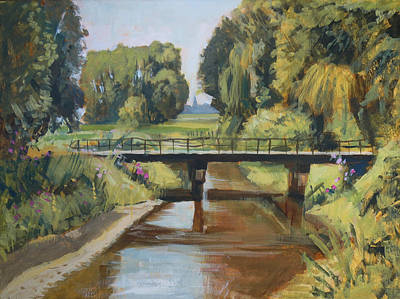 River Painting - River Reusel by Nop Briex