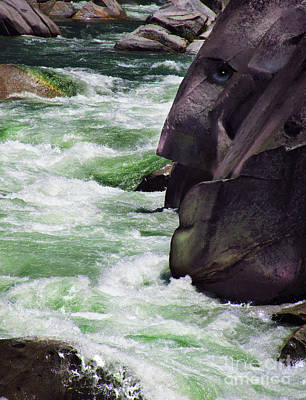 Digital Art - River Rock Man At The South Yuba by Lisa Redfern
