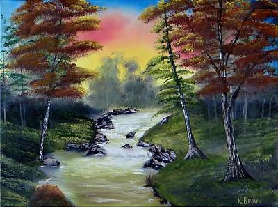 Bob Ross Painting - River Run by Kevin  Brown