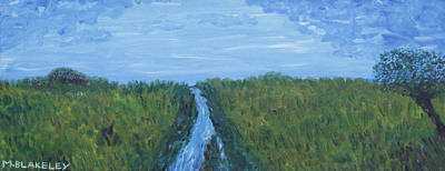 Painting - River Running Through The Grassland by Martin Blakeley