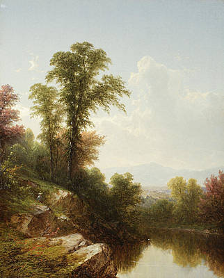 Reflecting Tree Painting - River Scene  Catskill by John William Casilear