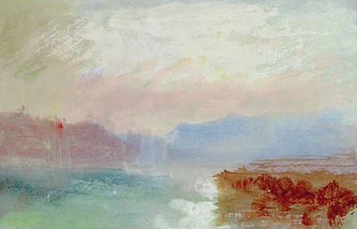 River View Drawing - River Scene by Joseph Mallord William Turner