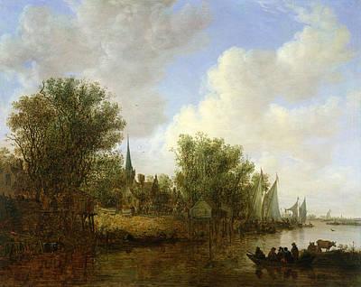 Rotterdam Photograph - River Scene With A View Of Overschie, 1651 Oil On Canvas by Jan Josephsz. van Goyen
