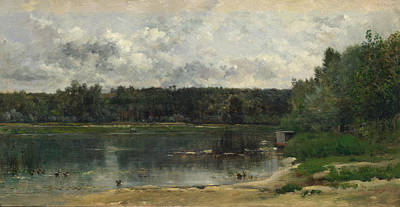 Painting - River Scene With Ducks by Charles-Francois Daubigny