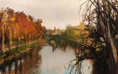 Painting - River Severn Autumn Light by Paul Mitchell