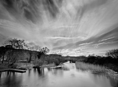 Photograph - River Sunset Monochrome by Beverly Cash