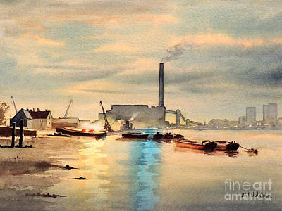 Painting - River Thames At Greenwich by Bill Holkham