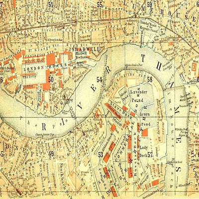 Photograph - River Thames  London Map by Florene Welebny