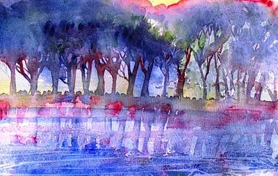 River Trees  Art Print by Trudi Doyle