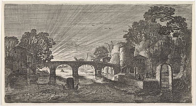 River View Drawing - River View At Sunset, Jan Van De Velde II by Jan Van De Velde (ii)