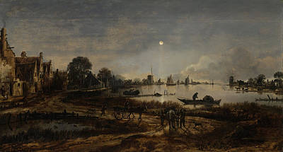 River View Painting - River View By Moonlight, Aert Van Der Neer by Quint Lox