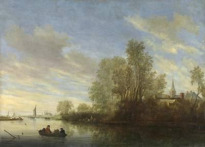 River View Painting - River View In Deventer by Salomon van Ruysdael