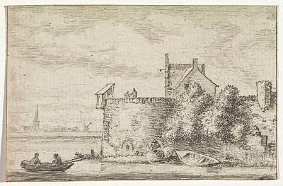 River View Drawing - River View With A Rampart, Print Maker Hendrik Spilman by Hendrik Spilman