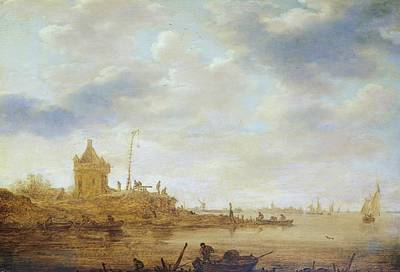 River View Painting - River View With Guard by Jan van Goyen