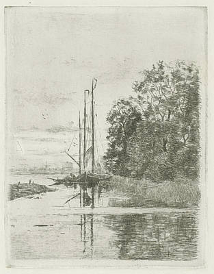 Occupy Drawing - River View With Two Ships And A Barge, Fredericus Jacobus by Fredericus Jacobus Van Rossum Du Chattel
