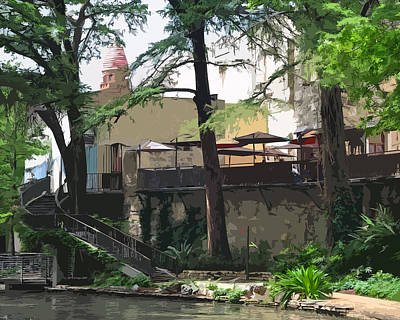 San Antonio River Walk Painting - River Walk Cafe by Kirt Tisdale