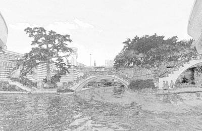 Photograph - River Walk Sketch by C H Apperson