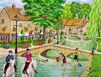 Cottage Painting - River Windrush Bourton On The Water - Cotswolds by Ronald Haber