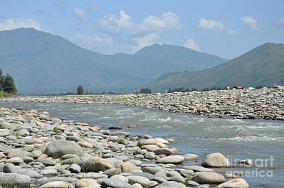 Riverbank Water Rocks Mountains And A Horseman Swat Valley Pakistan Art Print
