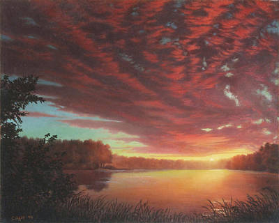 Riverbend Sunset Sky River Landscape Oil Painting American Yellow Pink Orange Art Print by Walt Curlee