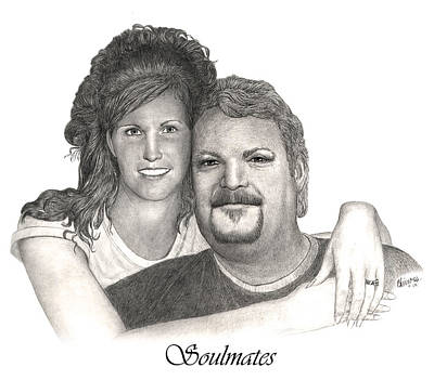 Drawing - Riverboat Captain And Bride by Joe Olivares