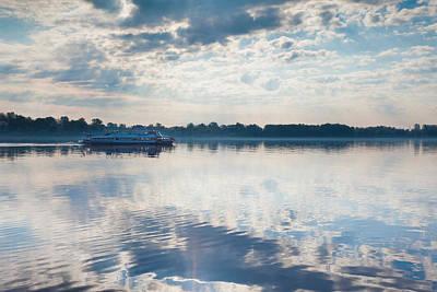Riverboat In River, Volga Riverfront Art Print
