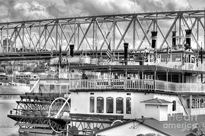 Steamboat Photograph - Riverboats Of Cincinnati Bw by Mel Steinhauer