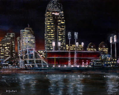 Baseball Scene Painting - Cincy Gabp by Josh Hertzenberg
