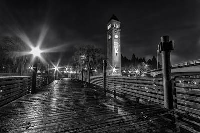 Riverfront Park Clocktower Seahawks Black And White Art Print