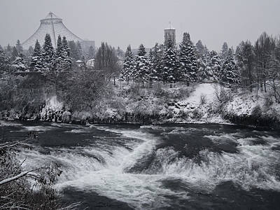Riverfront Park Winter Storm - Spokane Washington Art Print by Daniel Hagerman