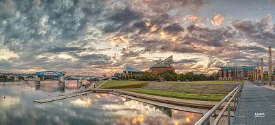Chattanooga Tennessee Photograph - Riverfront Pier Sunrise  by Steven Llorca