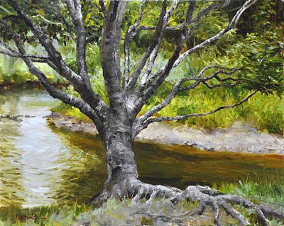 Tree Roots Painting - River's Edge by Scott Harding
