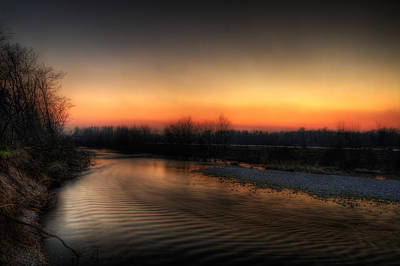 Riverscape At Sunset Art Print