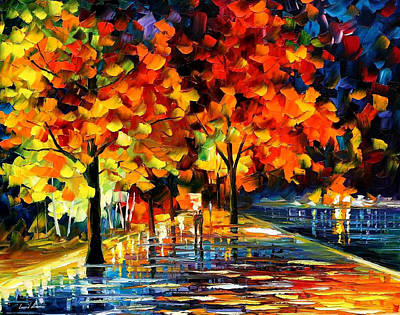 Rivershore Park - Palette Knife Oil Painting On Canvas By Leonid Afremov Original by Leonid Afremov