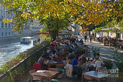 Photograph - Riverside Cafes - Ljubljana by Phil Banks
