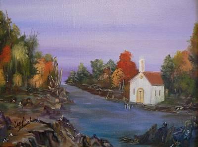 Painting - Riverside Church by Cheryl Damschen