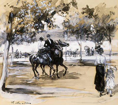Girl Riding Horse Painting - Riverside Drive by William James Glackens