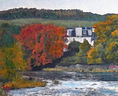 Painting - Riverside House And The Cauld Water Peebles by Richard James Digance