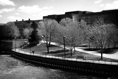 Photograph - Riverside Park Black And White by Scott Hovind