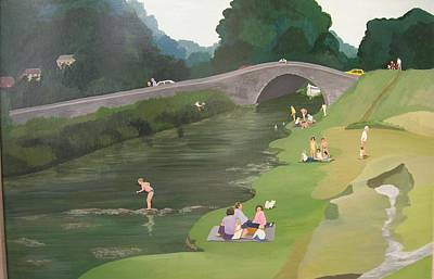 Bathing Photograph - Riverside Picnic, 1989 Acrylic On Board by Maggie Rowe