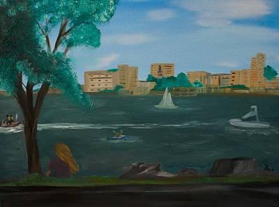 Jet Ski Painting - Riverside by Rosalie Dizon