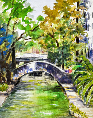 Del Rio Painting - Riverwalk 3 San Antonio by Suresh Pitamber