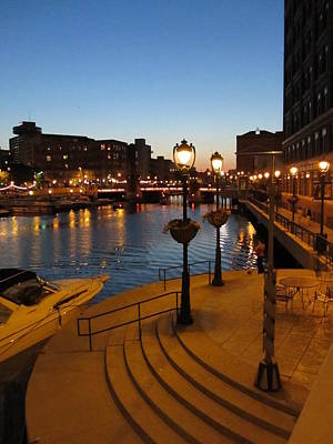 Photograph - Riverwalk At Night by Anita Burgermeister