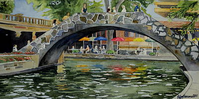 Art Print featuring the painting Riverwalk Bridge by Jeffrey S Perrine