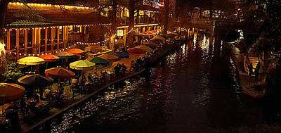 Canal Walk Photograph - Riverwalk Night by Mary Jo Allen