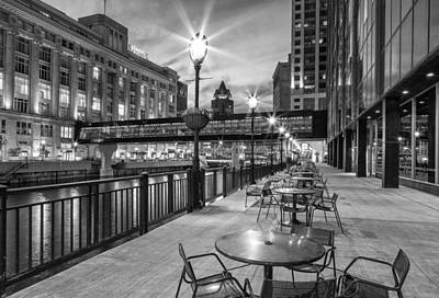 River Scenes Photograph - Riverwalk Seating by Jeffrey Ewig