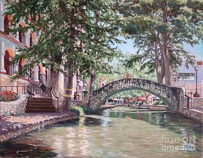 Riverwalk Stroll Art Print