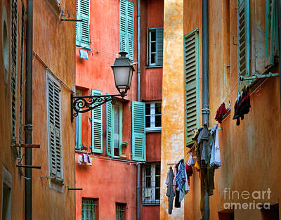 Clothesline Photograph - Riviera Alley by Inge Johnsson